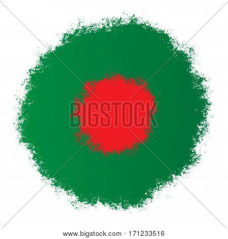 Color spray stylized flag of Bangladesh on white background
