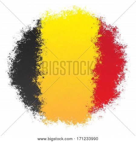 Color spray stylized flag of Belgium on white background