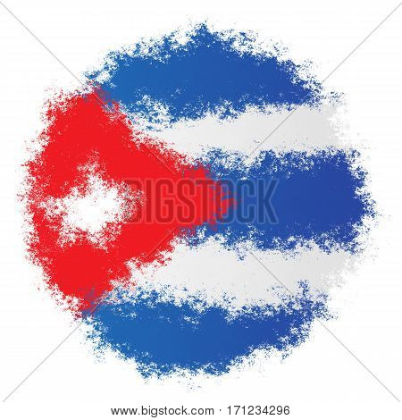 Color spray stylized flag of Cuba on white background