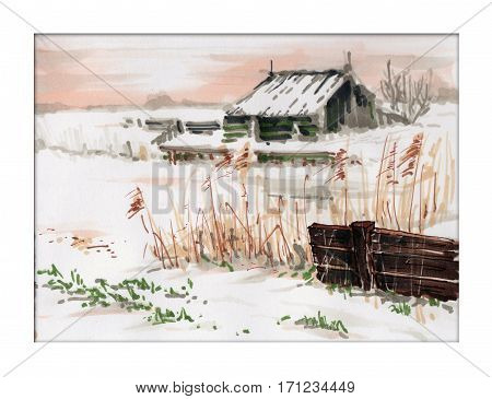 Card poster with winter landscape. Fense house field and road