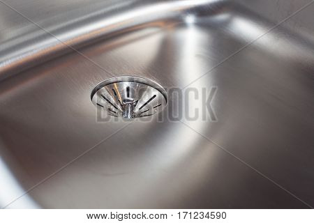 bottom of a new, shiny, stainless steel kitchen sink