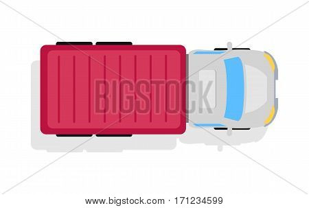 Truck top view icon. Lorry with container vector illustration isolated on white background. Cargo transportation. Commercial auto. For transport company ad, infographics, logo, web design