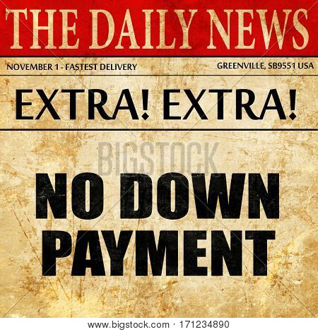 no downpayment, article text in newspaper
