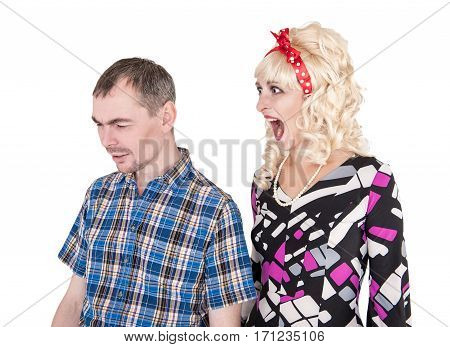 Funny Retro Woman Screaming On Her Husband Isolated