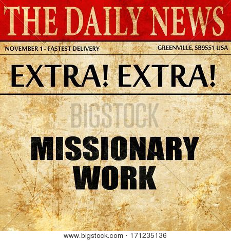 missionary work, article text in newspaper