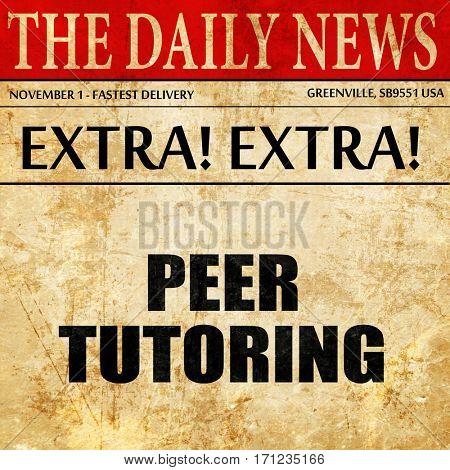 peer tutoring, article text in newspaper