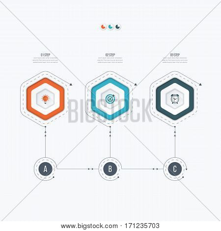 Infographics template 3 options with hexagon. Can be used for workflow layout, diagram, number options, step up options, web design, presentations