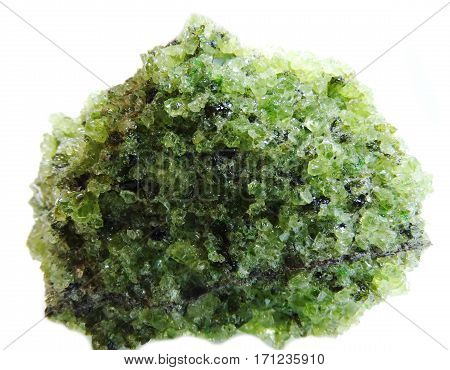 peridote semigem geode crystals geological mineral isolated