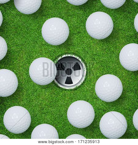 Abstract golf sport background of golf ball and golf hole on green grass texture background.
