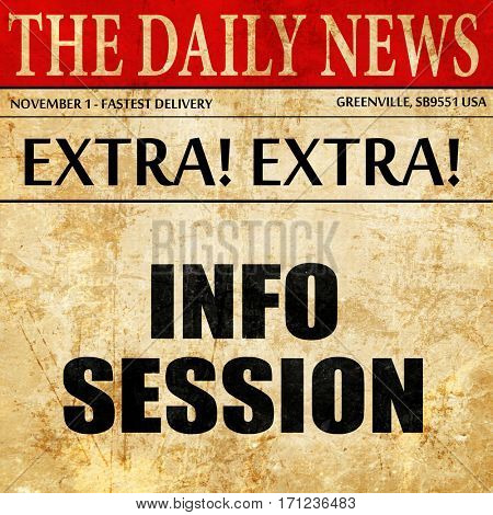 info session, article text in newspaper