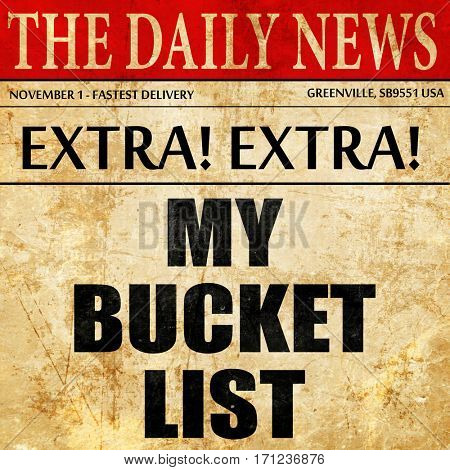 my bucket list, article text in newspaper