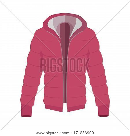 Red warm down jacket icon. Unisex everyday clothing in casual style for cold weather flat vector illustration isolated on white background. For clothing store, fashion concept, app button, web design