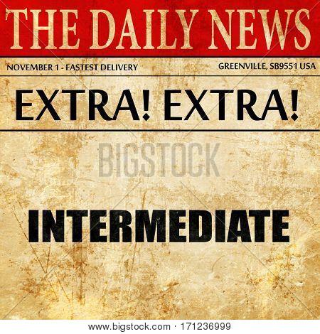 intermediate, article text in newspaper