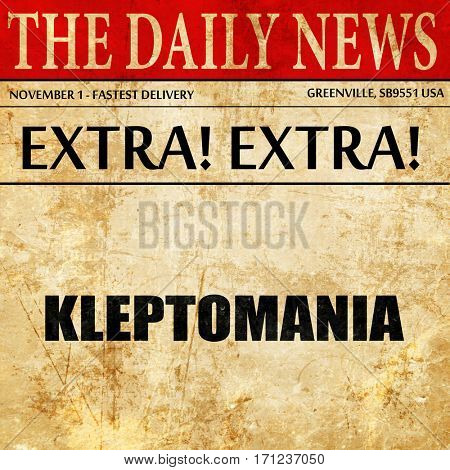 kleptomania, article text in newspaper