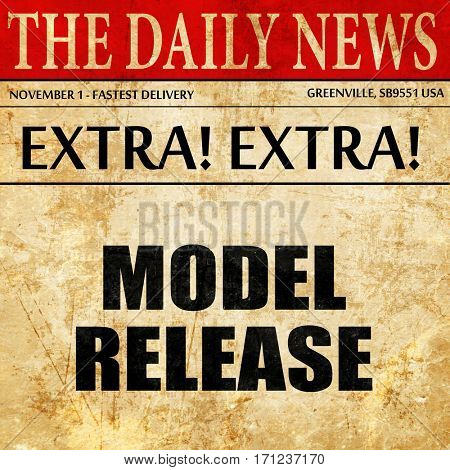 model release, article text in newspaper