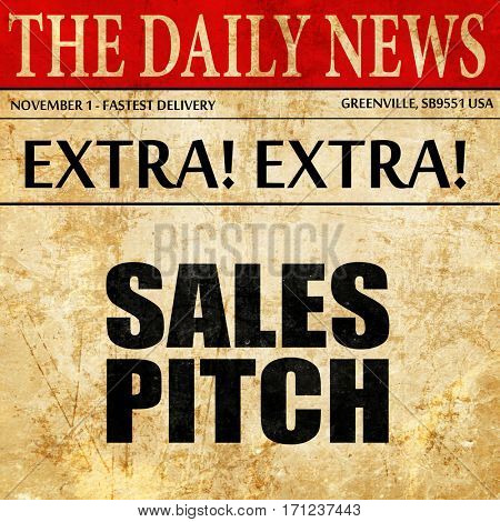 sales pitch, article text in newspaper
