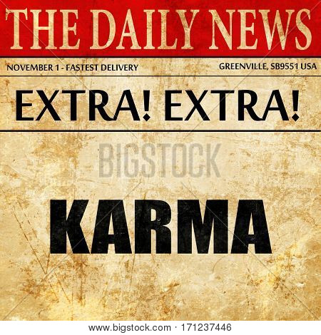 karma, article text in newspaper
