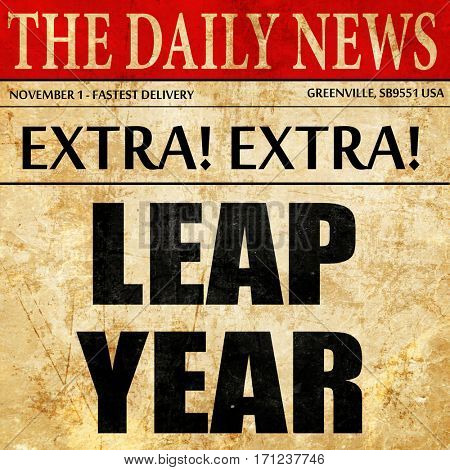 leap year, article text in newspaper
