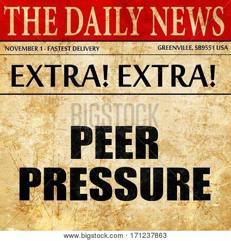 peer pressure, article text in newspaper