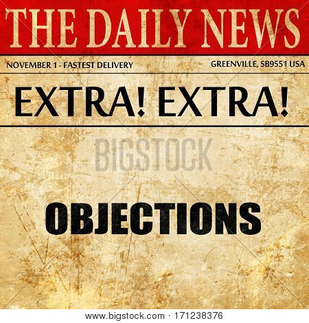 objections, article text in newspaper
