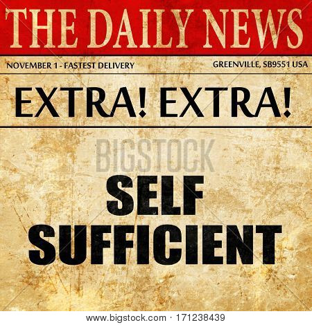 self sufficient, article text in newspaper