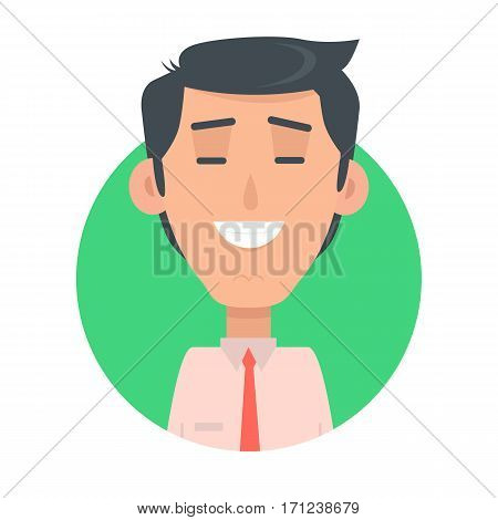Man face emotive icon. Brunet male character smiling with closed eyes flat vector illustration isolated on white. Happy human psychological portrait. Positive emotions concept. For app, web design