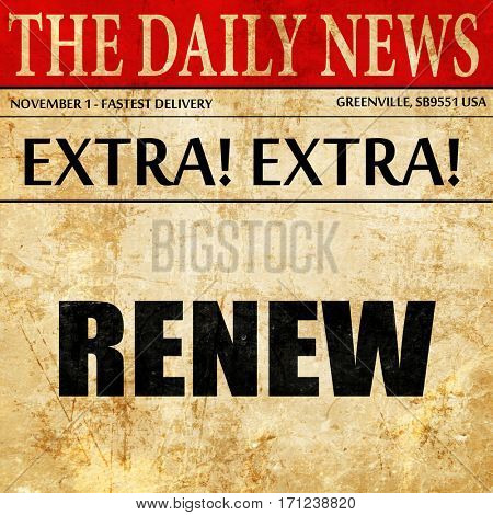 renew, article text in newspaper