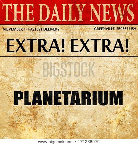 planetarium, article text in newspaper