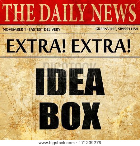 idea box, article text in newspaper