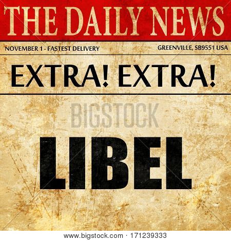 libel, article text in newspaper