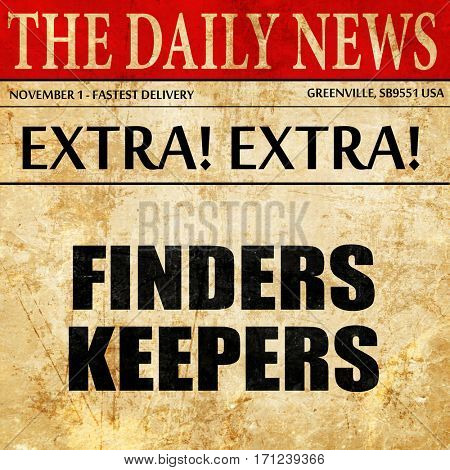 finders keepers, article text in newspaper