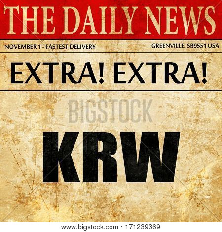 krw, article text in newspaper