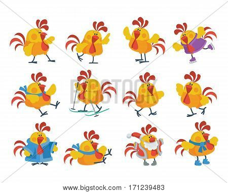 Rooster cartoon character icons. Cute cock dancing, skiing, skating, dressed in a Santa costume isolated flat vectors set. Chinese zodiac calendar animal. For New Year greeting card, xmas invitation