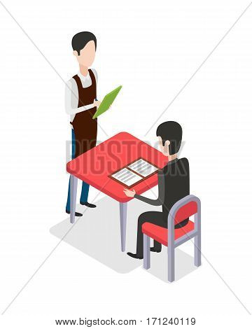 Male waiter in special clothes with green notebook standing near table and taking customer order at restaurant. Man with black hair sitting at red table and looking through menu. Flat design. Vector