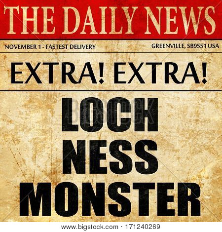 loch ness monster, article text in newspaper