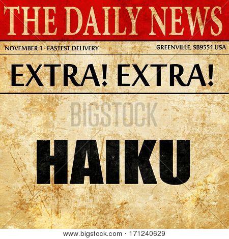 haiku, article text in newspaper
