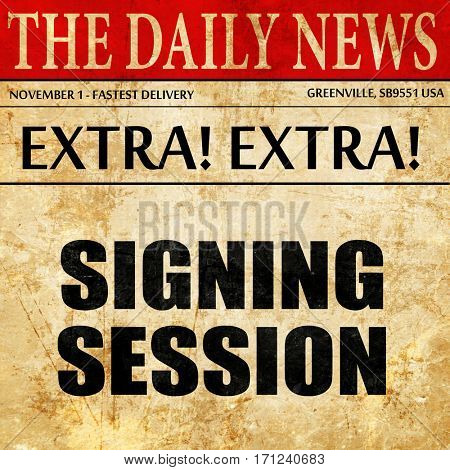signing session, article text in newspaper