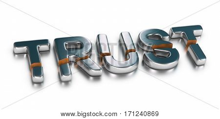 3D illustration of the word trust broken in two parts over white background Business concept of untrusted company or unreliability.
