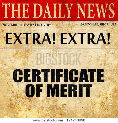 certificate of merit, article text in newspaper