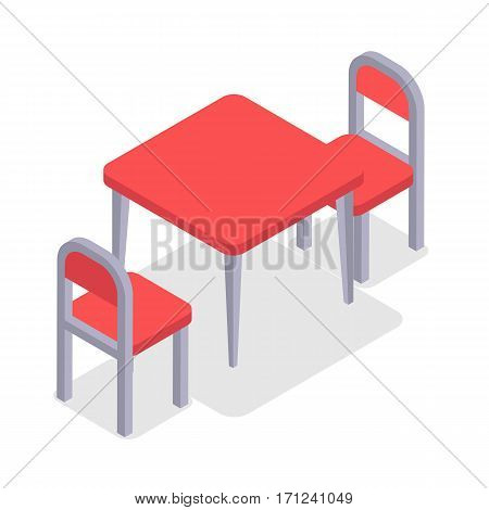 Chair and table isometric design. Dinner table chair isolated, isometric furniture, room interior, home furniture indoor and office desk vector illustration. Two red chairs and kitchen table