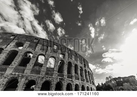 Coliseum. Attractions of a beautiful city on a black and white photo.