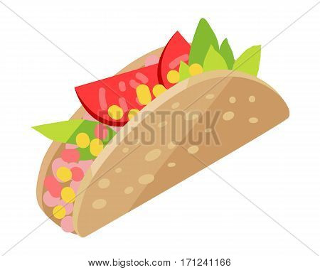 Mexican hotdog isolated on white. Sonoran Hot Dog. Hot dog wrapped bacon, cooked on a grill, topped with beans, grilled onions, tomatoes, mayonnaise, cream sauce, mustard served on bread. Vector