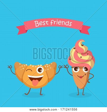 Best Friends. Sweets. Happy bun in simple cartoon style. Isolated fresh baked roll with one open eye and raised hands standing on two legs. Cake in oval shape with yellow-pink whipped cream. Vector