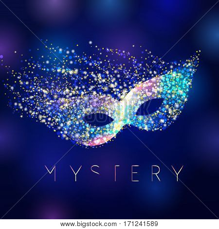 Mystery celebrating vector mask. Shining lighting holiday logo. Gold and blue colored decorating accessory on abstract water background. Greeting card, arts idea.