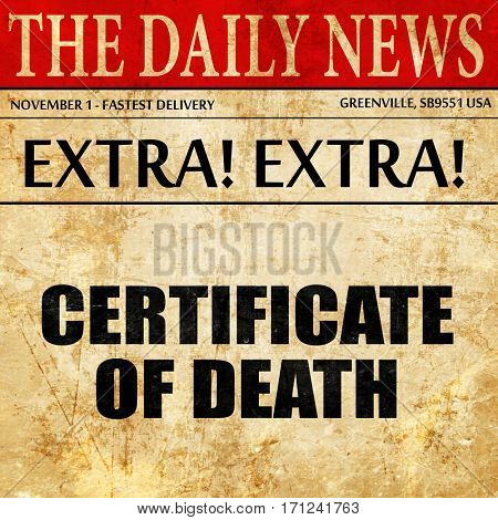 certificate of death, article text in newspaper