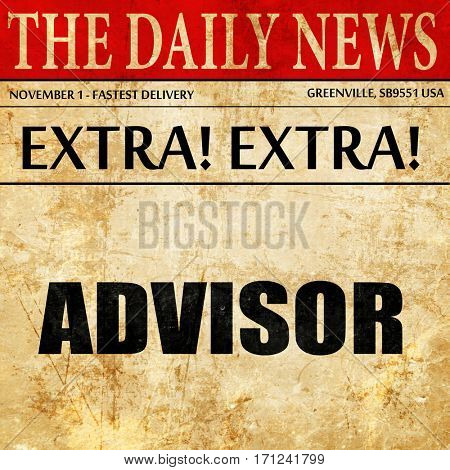 advisor, article text in newspaper