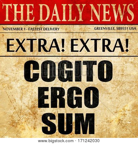 cogito ergo sum, article text in newspaper