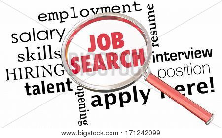 Job Search Magnifying Glass Get Hired Find Open Position 3d Illustration