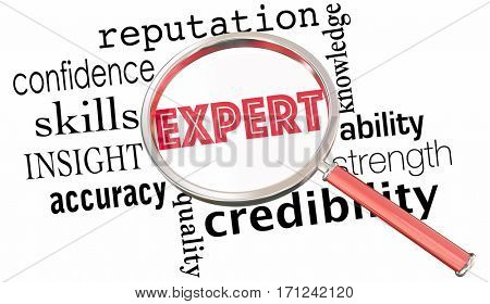 Expert Knowledge Ability Skill Reputation Magnifying Glass 3d Illustration