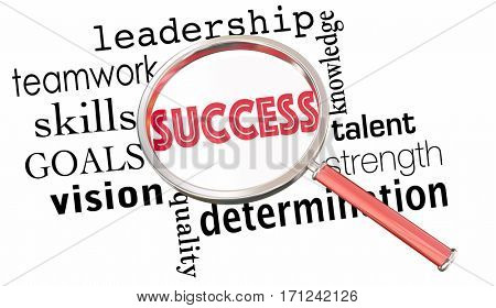 Success Magnifying Glass Words Teamwork Leadership 3d Illustration